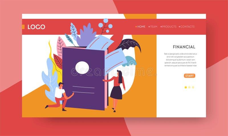 Pasaporte y boletos en línea de la plantilla de la página web que viajan stock de ilustración