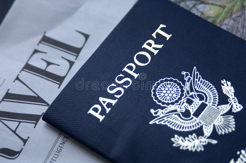 Pasaporte y recorrido imagenes de archivo