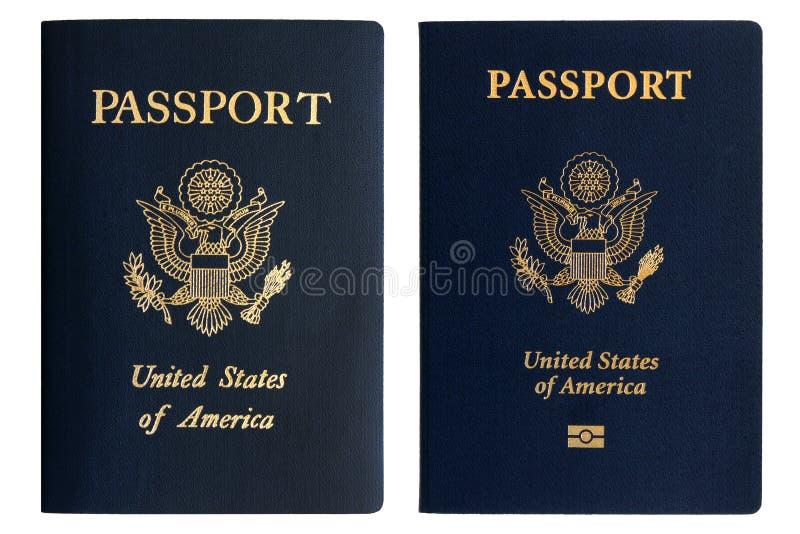 Pasaportes americanos viejos y nuevos imagen de archivo libre de regalías