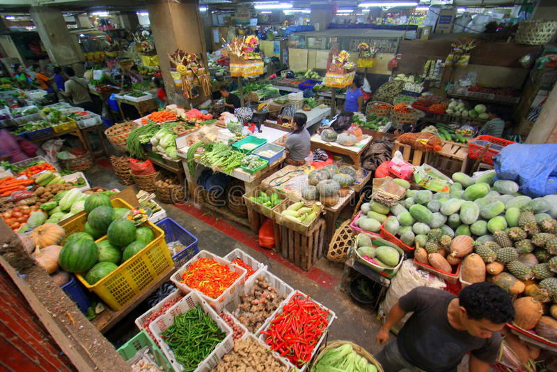 Pasar Badung in Bali Indonesië stock foto's