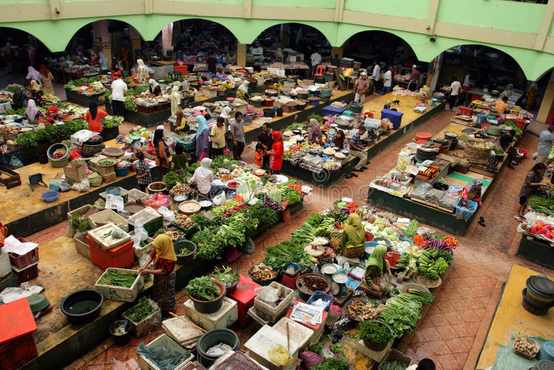 Pasar Siti Khadijah (Kota Bharu Central Market), Kelantan, Malaisie photos libres de droits