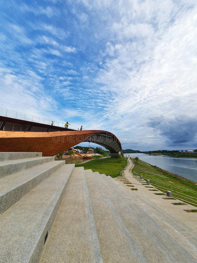PASARN, το νέο ορόσημο αρχίζει του ποταμού Chao Phraya, Nakhonsawan, Ταϊλάνδη στοκ φωτογραφία με δικαίωμα ελεύθερης χρήσης