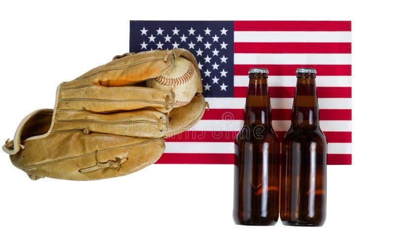 Pasatiempo americano del béisbol en blanco aislado imágenes de archivo libres de regalías