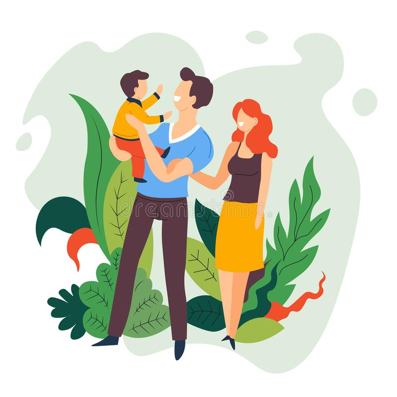 Pasatiempo de la familia del hijo del bebé de la tenencia de la madre y del padre libre illustration