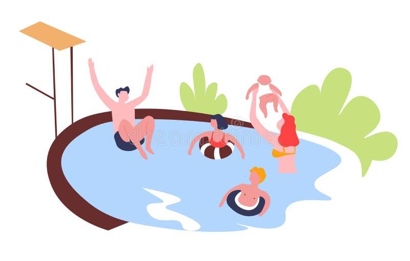 Pasatiempo del ocio de la actividad al aire libre de la piscina de la familia ilustración del vector
