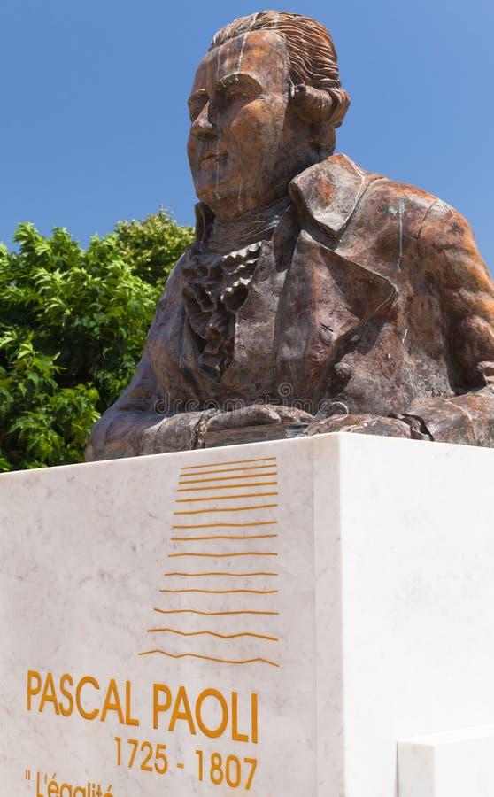 Pascal Paoli Statue Ajacio, C?rcega fotos de archivo libres de regalías