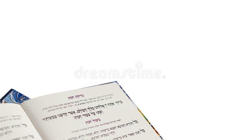 Pascha Haggadah die ` het Zuurdeeg ` elimineren - Judaica bracht Geïsoleerd op Witte Achtergrond met elkaar in verband stock afbeelding