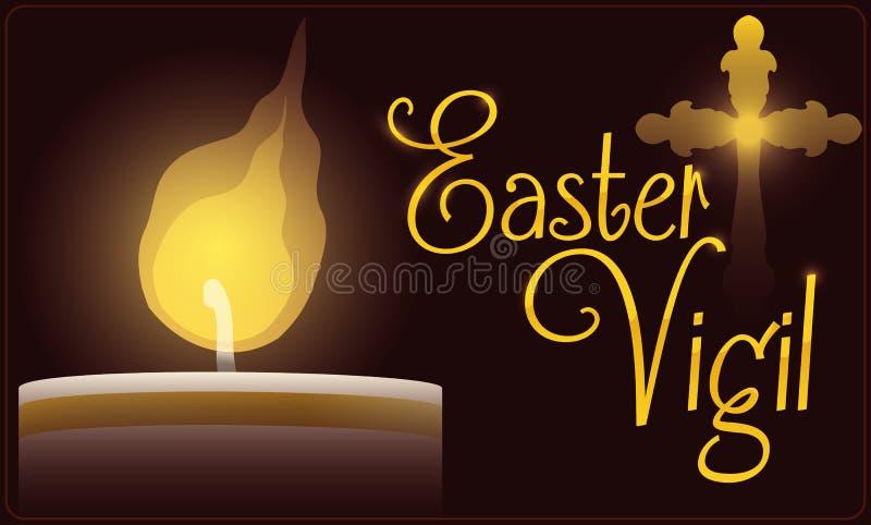 Paschal Candle Illuminating Easter Vigil beröm, vektorillustration royaltyfri illustrationer