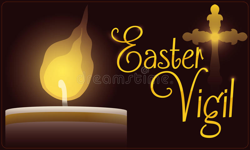 Paschal Candle Illuminating Easter Vigil Celebration, Vector Illustration. Banner with close up lighted Paschal candle for Easter Vigil celebration with a golden royalty free illustration