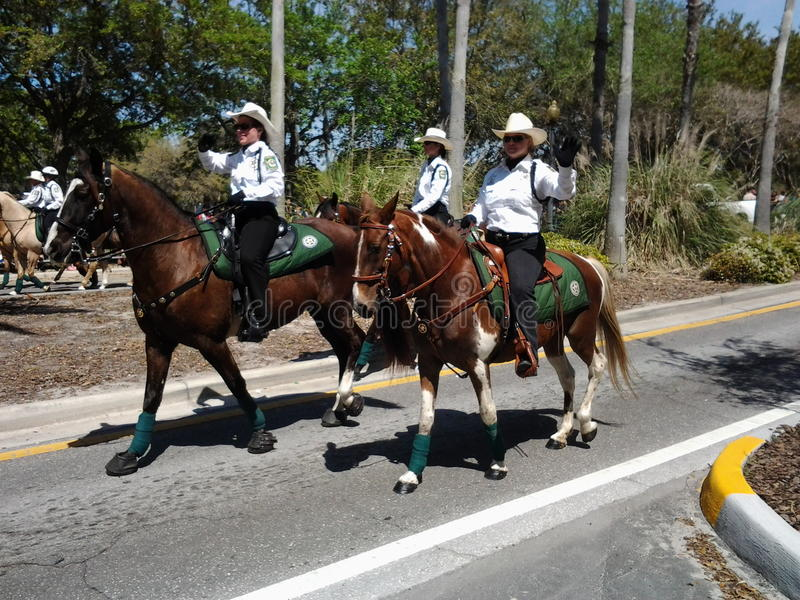 Pasco County Florida's Mounted Unit. This was taken at the CHASCO Festival in Pasco County Florida. The Sheriff's dept. mounted unit was in the parade that day stock photo