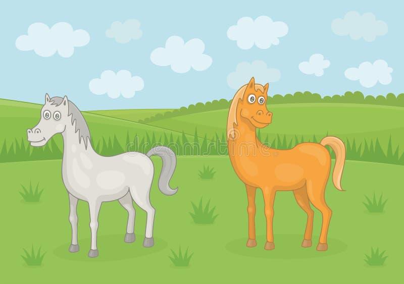 Pascolo dei cavalli royalty illustrazione gratis