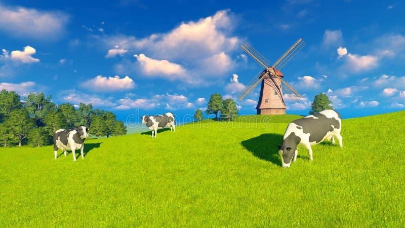 Pascolo le mucche da latte e del mulino a vento illustrazione vettoriale