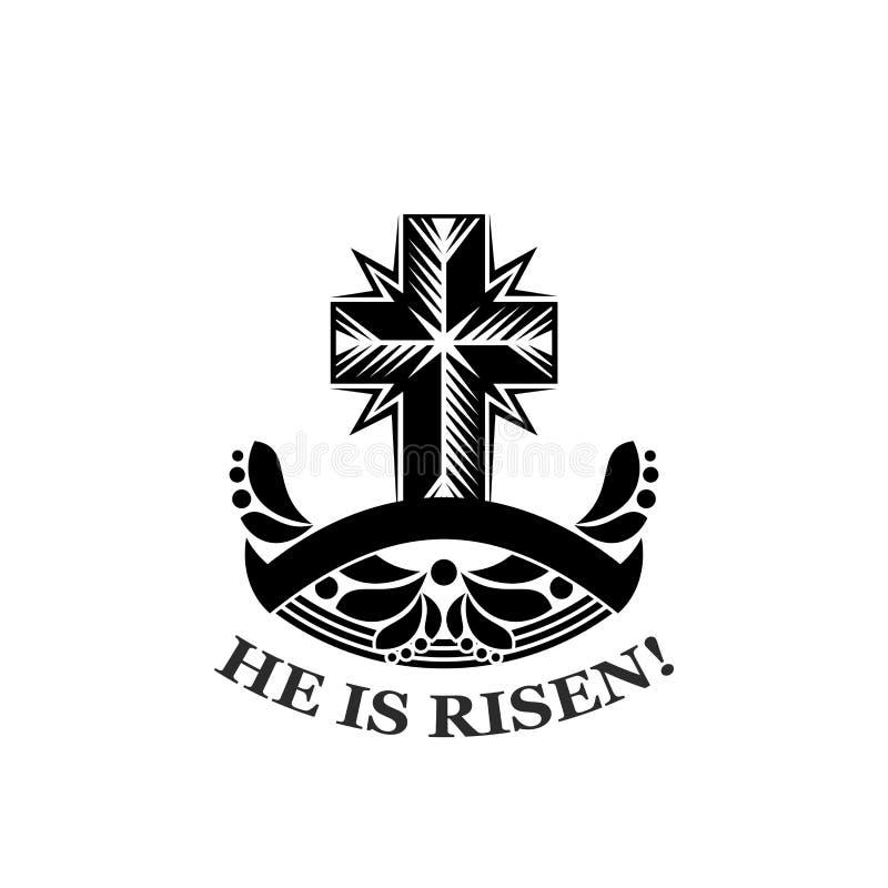 Pascua él es icono subido del vector de la cruz de la iglesia libre illustration