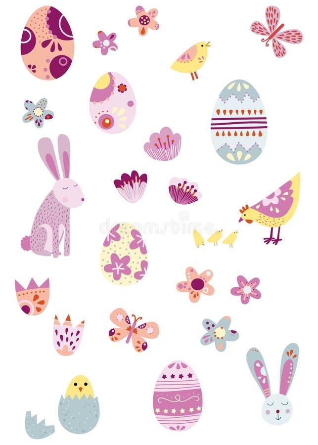Pascua aisló los iconos del vector perfectos para los fondos y el ust del ejemplo stock de ilustración