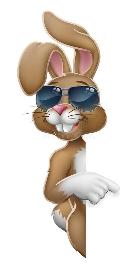 Pascua Bunny Cool Rabbit Pointing Cartoon ilustración del vector
