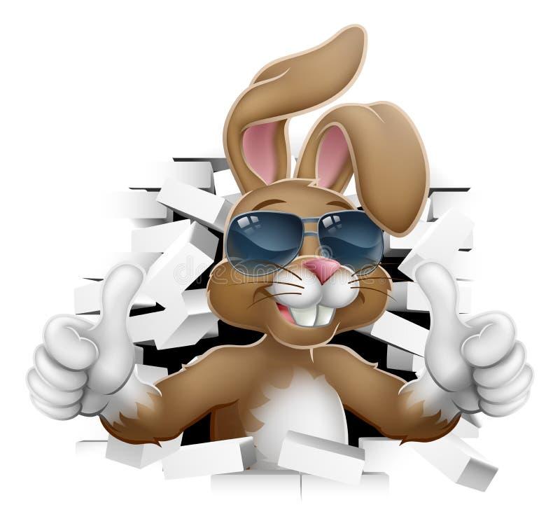 Pascua Bunny Cool Rabbit Sunglasses Thumbs para arriba stock de ilustración