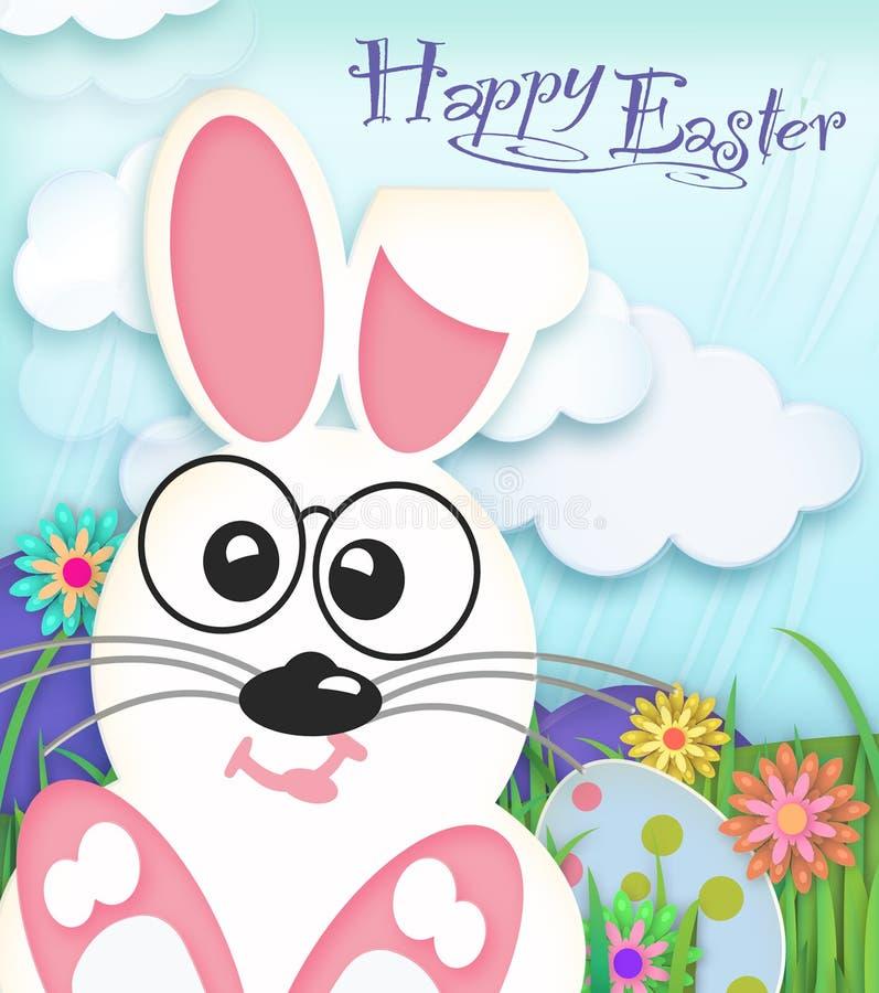 Pascua Bunny Happy Easter Card Art stock de ilustración