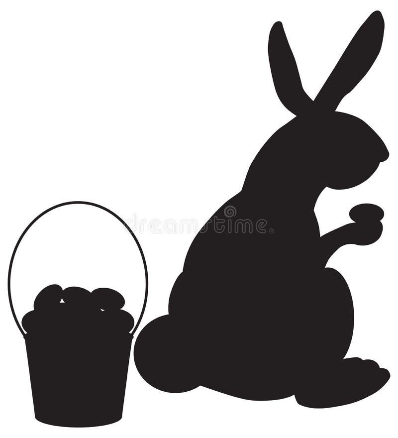 Pascua Bunny Hiding Eggs en silueta libre illustration