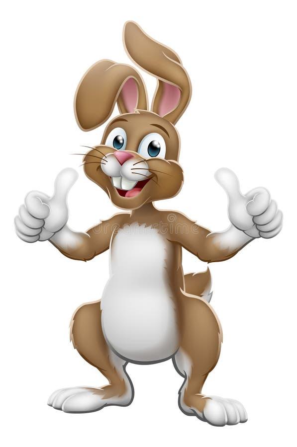 Pascua Bunny Rabbit Cartoon Giving Thumbs para arriba ilustración del vector
