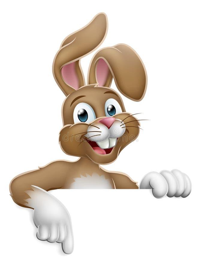 Pascua Bunny Rabbit Pointing Cartoon en la muestra libre illustration