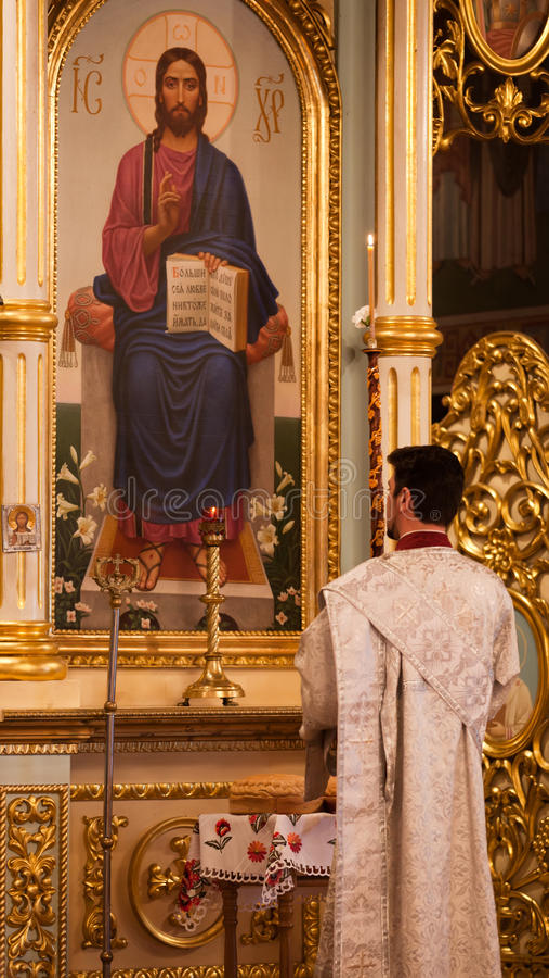 Pascua, ceremonia del rezo de la iglesia ortodoxa. foto de archivo