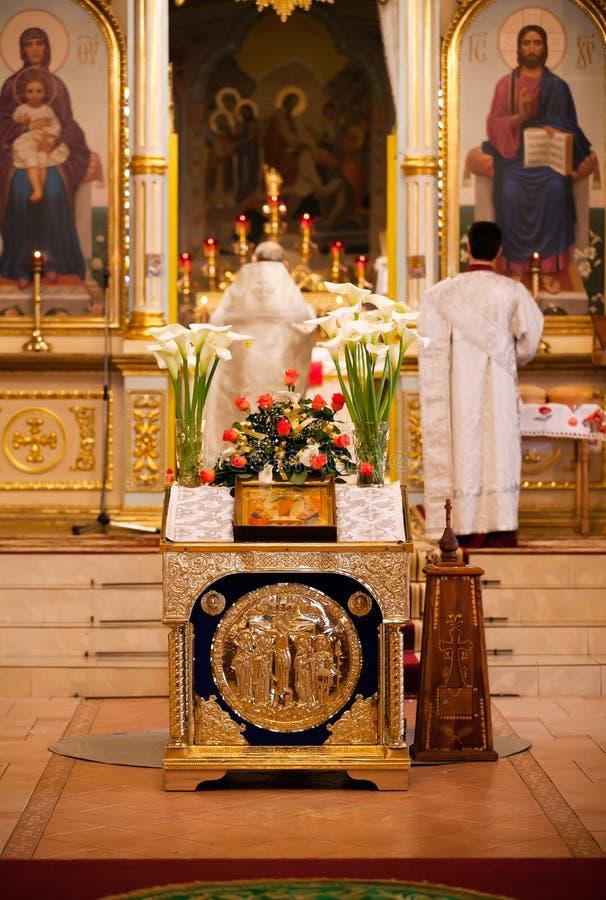 Pascua, ceremonia del rezo de la iglesia ortodoxa. imagen de archivo