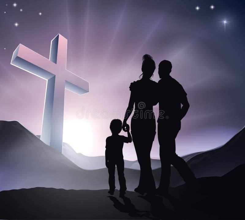 Pascua Christian Cross Family stock de ilustración