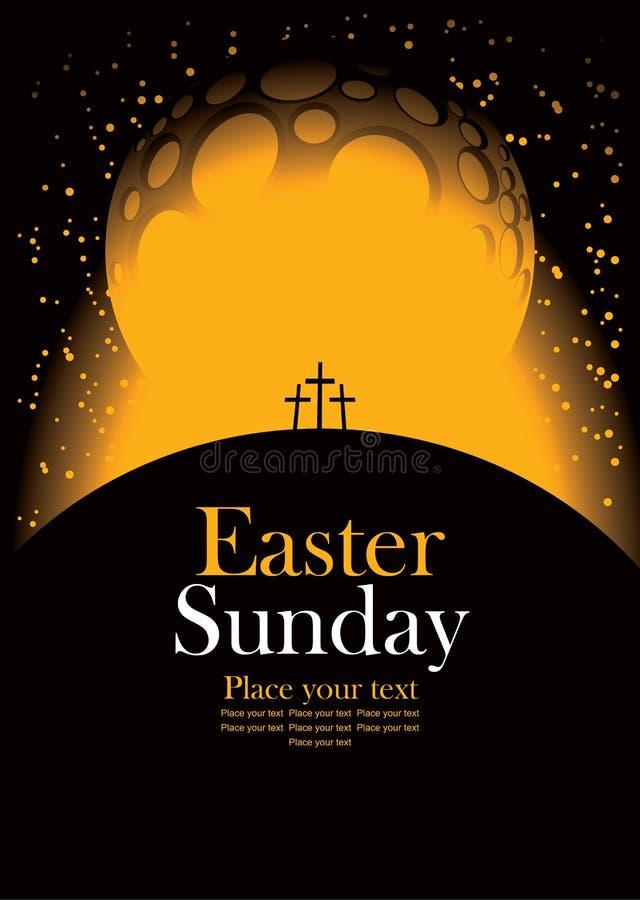 Pascua con el Calvary y las cruces stock de ilustración