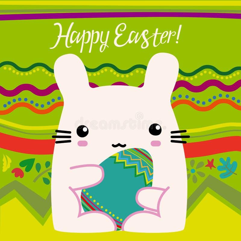 Pascua, conejito rosado stock de ilustración
