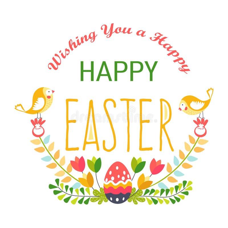 Pascua feliz aisló el huevo y pájaros del día de fiesta religioso del icono stock de ilustración