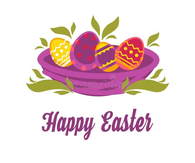 Pascua feliz aisló el icono coloreó los huevos en jerarquía ilustración del vector