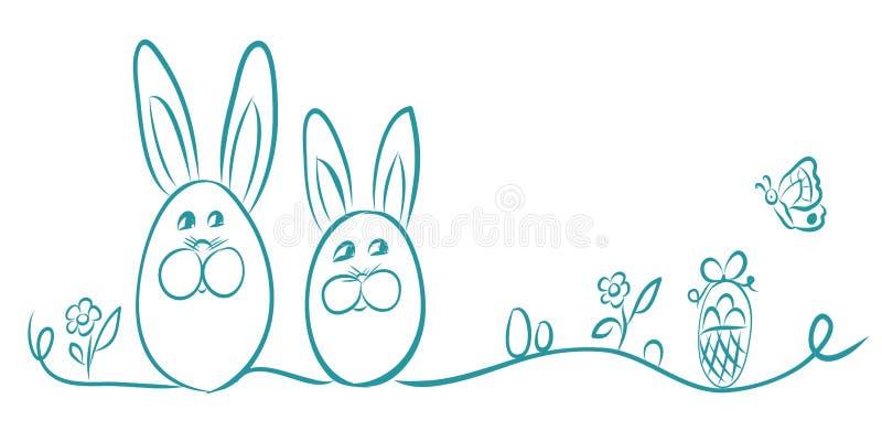 Pascua feliz Bandera del ejemplo del vector Cesta de la mariposa de la flor del conejito del huevo Fondo de la decoración de Pasc libre illustration