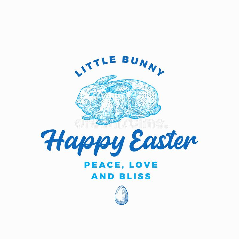 Pascua feliz Bunny Abstract Vector Sign, símbolo o Logo Template Mano dibujada grabando el bosquejo de Sillhouette del conejo del ilustración del vector