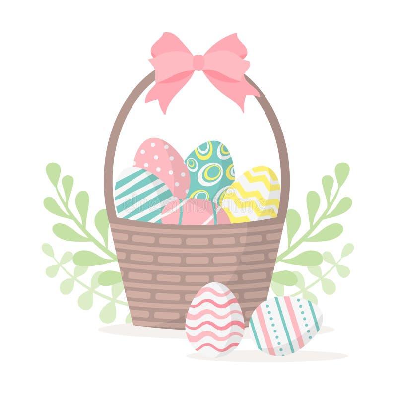 Pascua feliz Cesta con los huevos de Pascua aislados en un fondo blanco Ilustración del vector libre illustration