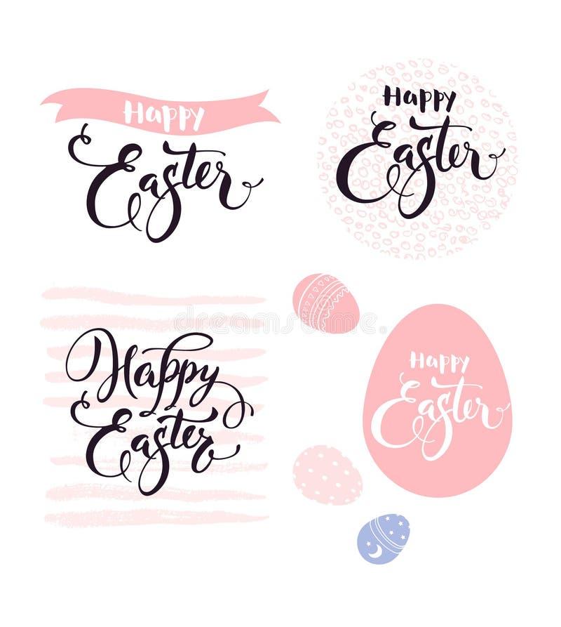 Pascua feliz Colección de elementos decorativos magníficos de las letras de la mano, caligráficos y mano dibujado en color rosado ilustración del vector
