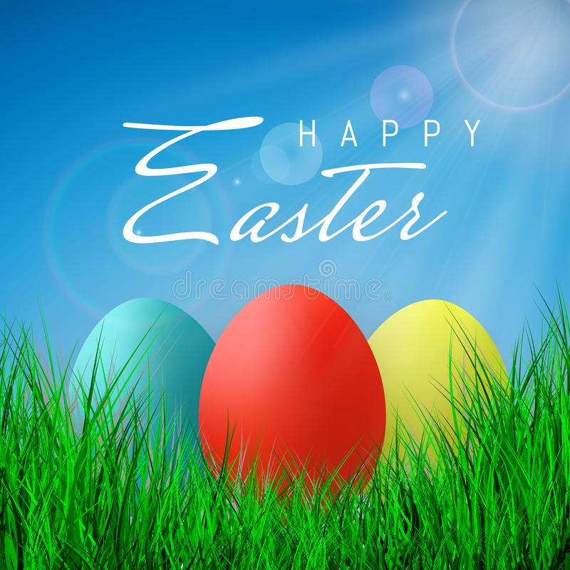 Pascua feliz, color Eggs la colección con la malla de la pendiente, plantilla del diseño, ejemplo del vector ilustración del vector