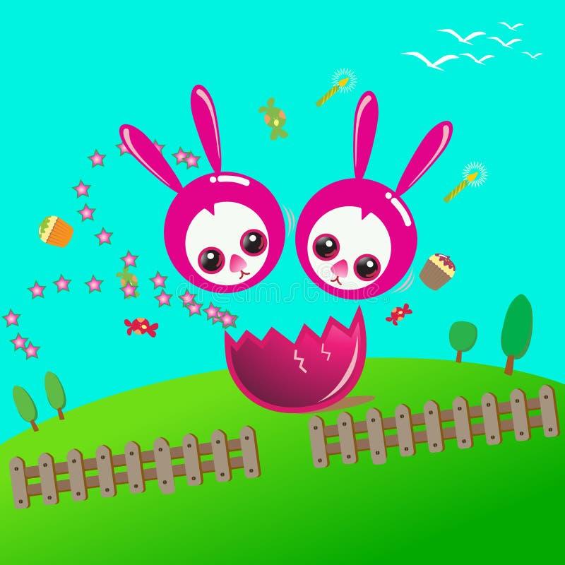Pascua feliz con el conejito del dúo ilustración del vector