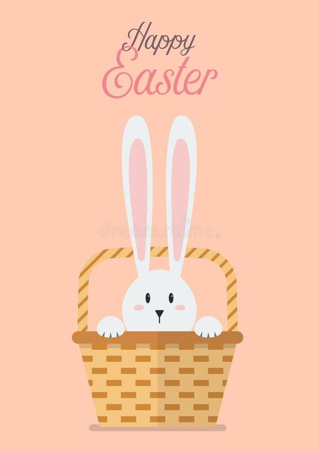 Pascua feliz con el conejito en cesta de mimbre libre illustration