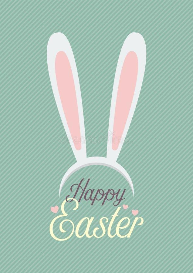 Pascua feliz con la máscara de los oídos del conejito stock de ilustración