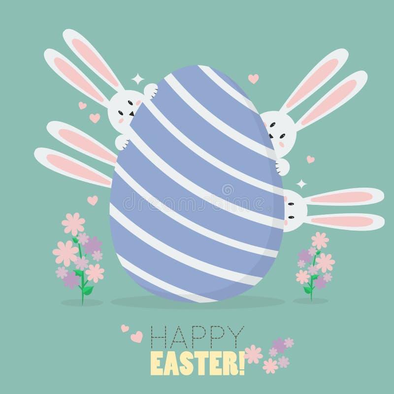 Pascua feliz con los conejitos y el huevo de Pascua ilustración del vector
