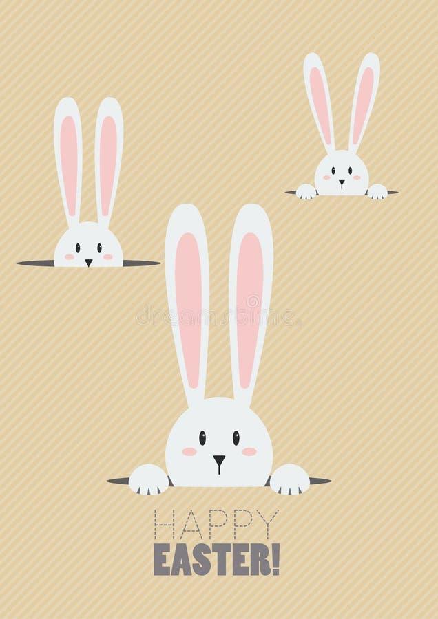 Pascua feliz con los conejos blancos en un agujero stock de ilustración