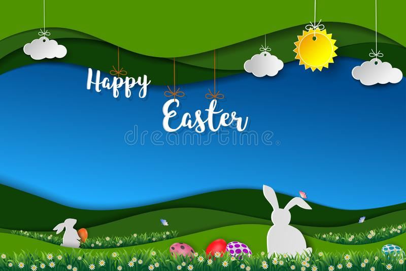Pascua feliz con los conejos blancos, los huevos coloridos y la pequeña margarita en el prado, fondo del arte del papel del paisa stock de ilustración