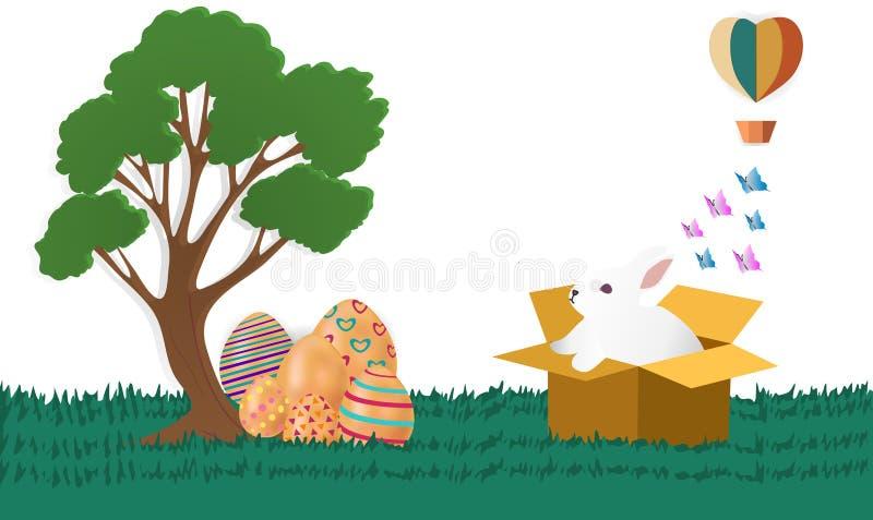 Pascua feliz con los conejos que están fuera de la caja y de los huevos coloridos Estilo de papel del arte, imágenes del vector - ilustración del vector