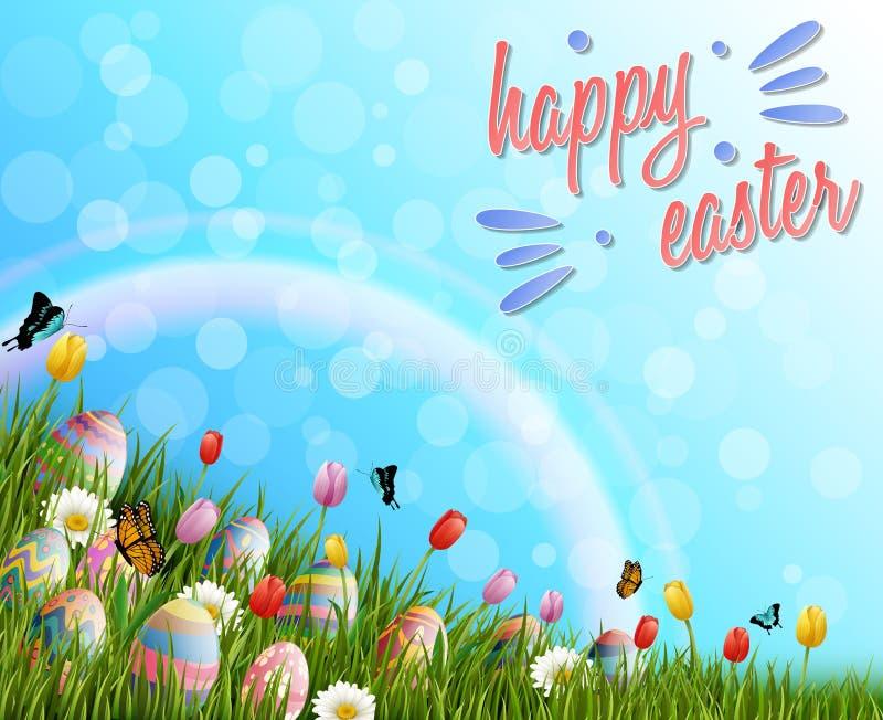 Pascua feliz con los huevos y el tulipán florece en fondo de la hierba libre illustration