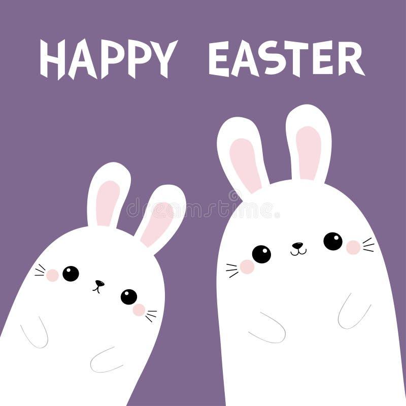 Pascua feliz Conejito de dos conejos en la esquina Amigos por siempre Juego de caracteres divertido del bebé del kawaii lindo de  stock de ilustración