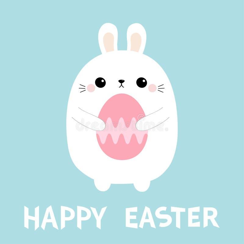 Pascua feliz Conejito del conejo que sostiene el huevo de pintura Animal del campo Carácter divertido del bebé del kawaii lindo d libre illustration