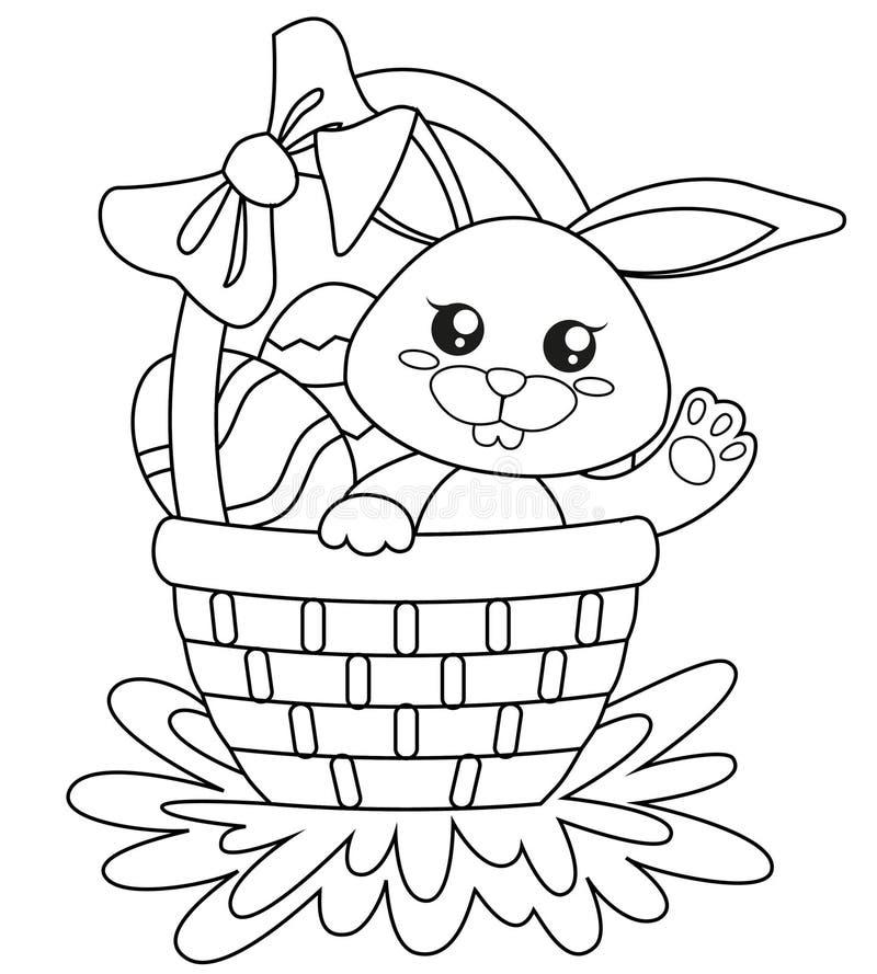 Pascua feliz Conejito lindo que se sienta en cesta con los huevos Ejemplo blanco y negro del vector para el libro de colorear ilustración del vector