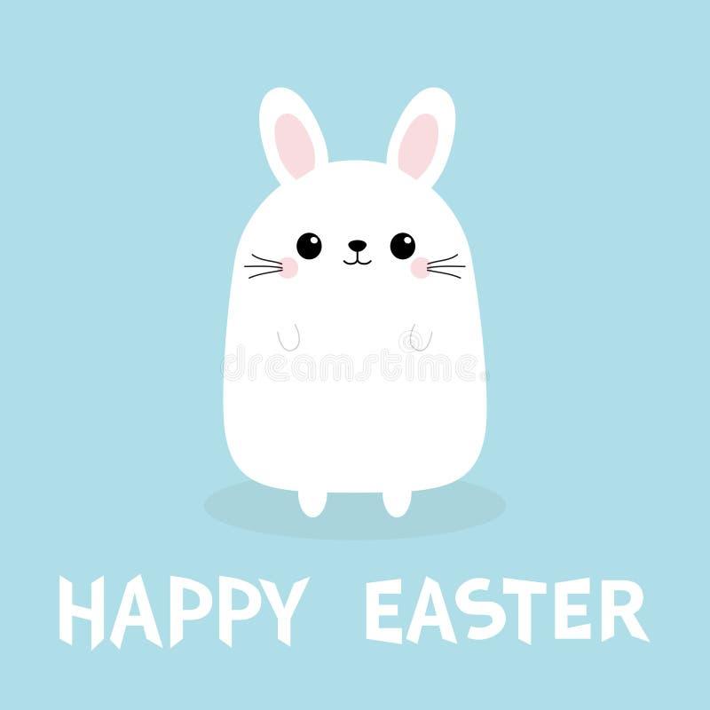 Pascua feliz Conejo de conejito blanco Cuerpo divertido de la cabeza de la cara Personaje de dibujos animados lindo del kawaii Ta stock de ilustración