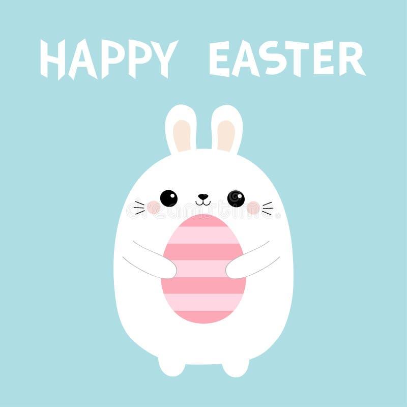 Pascua feliz Conejo de conejito que sostiene el huevo de pintura rosado Animal del campo Carácter divertido del bebé del kawaii l ilustración del vector