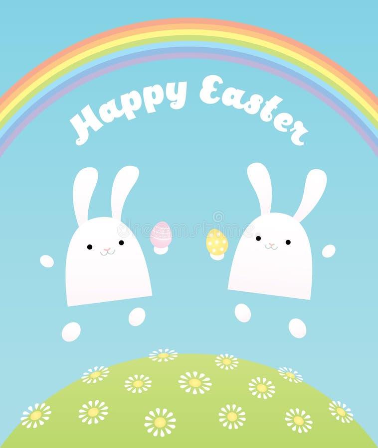 Pascua feliz dos conejitos stock de ilustración